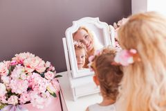 Beauty from generation to generation in the room royalty free stock images
