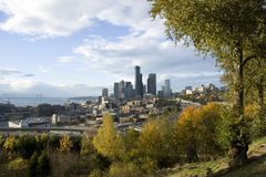 Charming fall colors surrounding the city Stock Photography