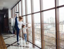 Charming family spends time in the gym Royalty Free Stock Photo