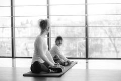 Charming family spends time in the gym Royalty Free Stock Image