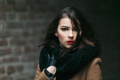 Charming fashion female modell in a coat. Stock Image