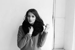 Charming fashion female modell in a coat. Stock Images