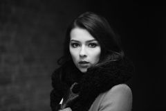 Charming fashion female modell in a coat Stock Photos
