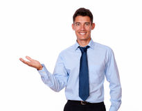 Charming fashionable businessman holding his palm Royalty Free Stock Image