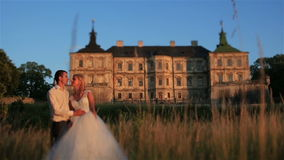 Charming and fashionable wedding couple in love. Old vintage castle on background