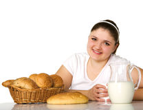 Charming fatty with rolls. Happy fatty girl eats rolls Stock Photos