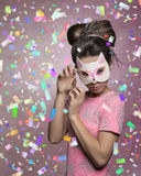 Charming female with cat mask Royalty Free Stock Photos