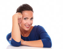Charming female looking at you while smiling Royalty Free Stock Photography