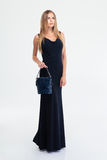 Charming female model in black dress Stock Image