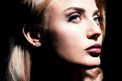 Charming female model. A close-up portrait of a beautiful blonde lady, Beauty, fashion stock images