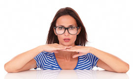 Charming female with spectacles looking at you Royalty Free Stock Photo