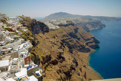 Charming Fira village in the afternoon. Stock Photo