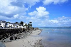 Charming fishing port and pretty seaside resort Locquirec Brittany France stock photos
