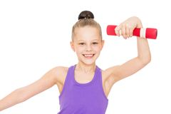 Charming, fitness , girl with dumbbells in hand Stock Image
