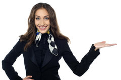 Charming flight stewardess presenting copy space Royalty Free Stock Images