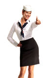 Charming flight stewardess showing various gesture Stock Images