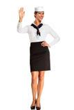 Charming flight stewardess showing various gesture Stock Photo