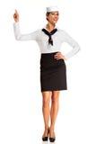 Charming flight stewardess showing various gesture Stock Image