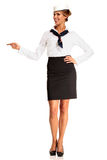 Charming flight stewardess showing various gesture Royalty Free Stock Photos