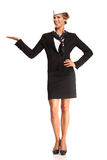 Charming flight stewardess showing various gesture Royalty Free Stock Images