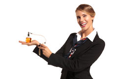 Charming flight stewardess showing various gesture Stock Photography