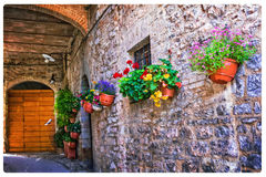 Charming floral decorated streets of medieval towns of Italy. Sp stock images