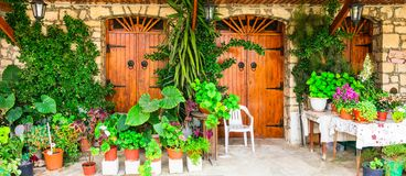 Charming floral decorated streets of traditional villages of Cyprus. Olimbos stock photos