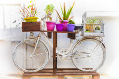 Charming floral street decoration with old bike. Retro picture Royalty Free Stock Photos