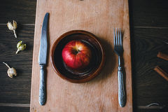 Charming food for a lunch - apple. Charming supper for Valentine's Day. Designed in rustic vintage style royalty free stock photography