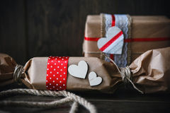 Charming gift for Valentine's Day. Designed in rustic style. Charming gift for Valentine's Day. Designed in rustic vintage style royalty free stock image