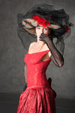 The charming girl in a beautiful dress. The charming girl in a beautiful red dress Royalty Free Stock Photo