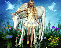 Charming girl with a beautiful horse. Among the flowers charming girl with a beautiful horse Stock Photography