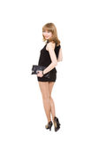 Charming girl in a black short dress Stock Images
