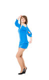 Charming girl in a blue short dress Royalty Free Stock Images