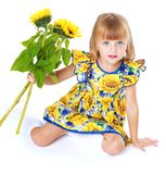 Charming girl in a bright dress. Stock Photo