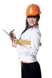 Charming girl the builder Royalty Free Stock Image