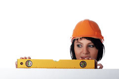Charming girl the builder Stock Photos