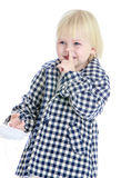 Charming girl in a checkered coat Royalty Free Stock Images