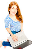 Charming girl with a computer Stock Photo