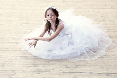 Charming girl dancing in ballet studio Stock Photos