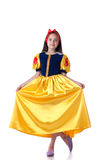 Charming Girl Dressed As Snow White Doing Curtsy Royalty Free Stock Photos