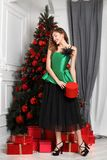 Charming girl dressed in a stylish green silk top, black full skirt poses next to the New Year tree stock images