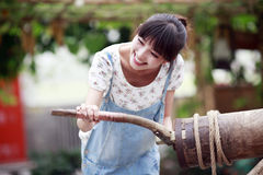 Charming girl enjoying farm life. Royalty Free Stock Photo