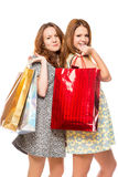 Charming girl with gift bags Stock Photos