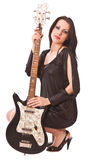 Charming girl with guitar Royalty Free Stock Images