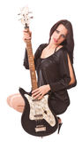 Charming girl with guitar Royalty Free Stock Image