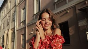 Charming Girl Having Fun On Street Of Old Town On Happy Day. stock footage
