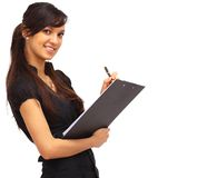 Charming girl holding a folder Royalty Free Stock Photo