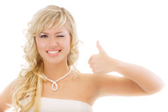 Charming girl lifts upwards thumb Stock Photography