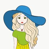 Charming girl with long hair in a summer hat.  Stock Photos